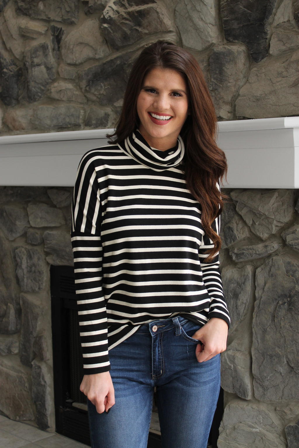 Black Turtle Stripe Top