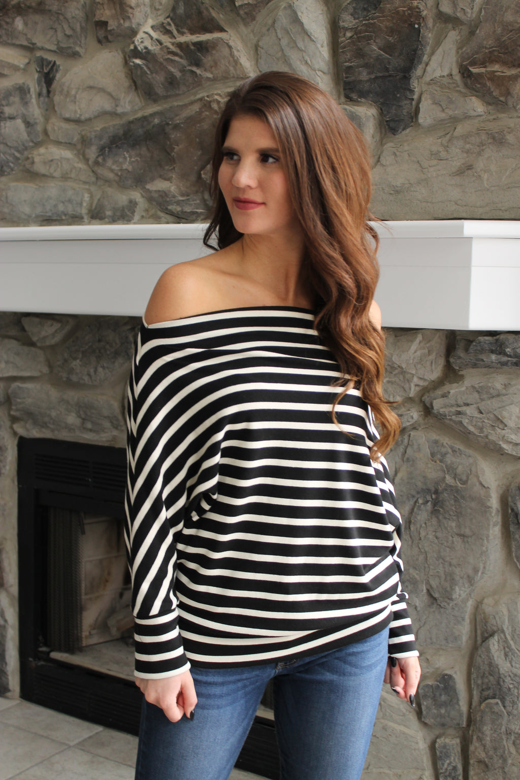 Black Stripe Off Shoulder Top