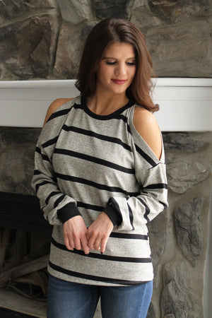 Grey Stripe Cold Shoulder Top