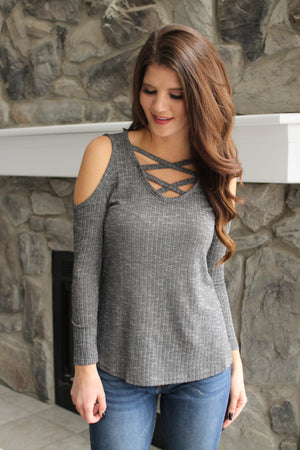 Charcoal Cold Shoulder Cross Top