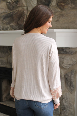 Oat/Blush Lace Top