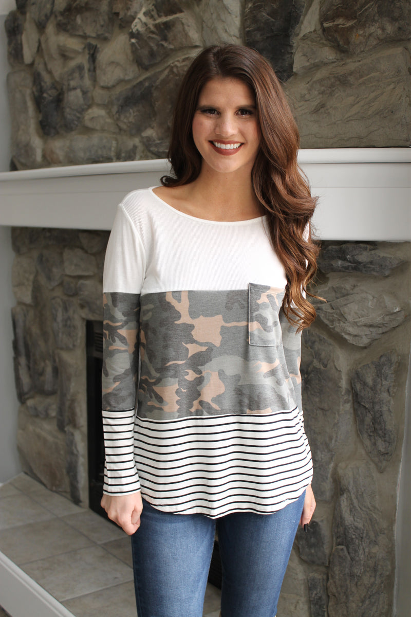 Camo/Stripe Colorblock Top