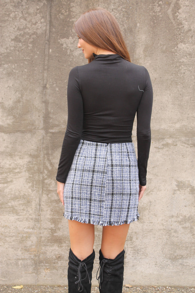 Black/Navy Tweed Fray Skirt