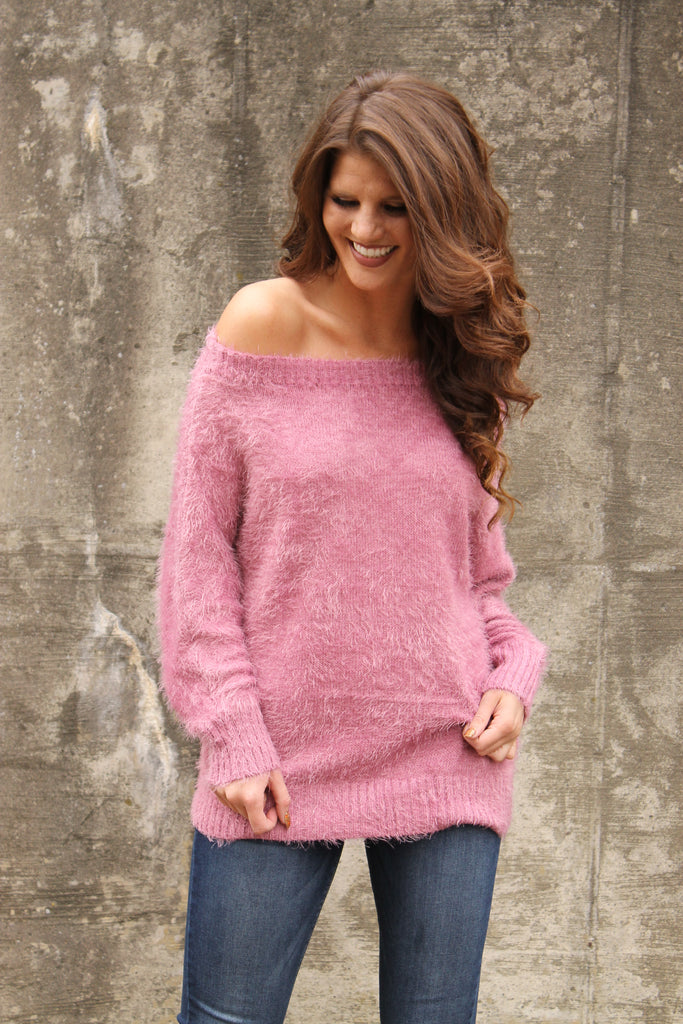 Rose Fuzzy Knit Sweater