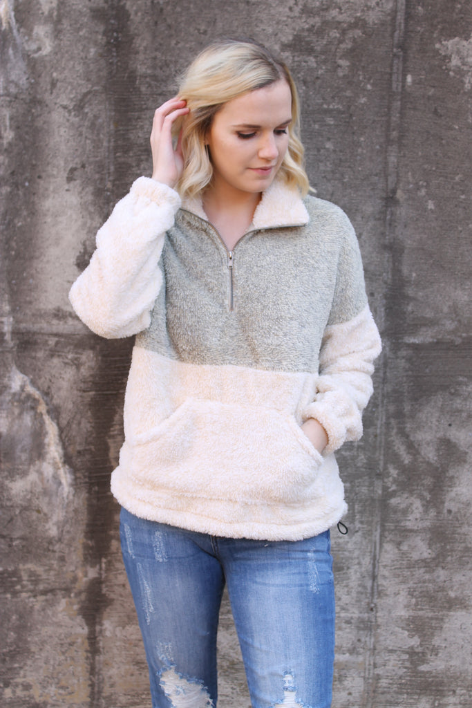 Taupe/Cream Fuzzy Pull Over Zip Sweater