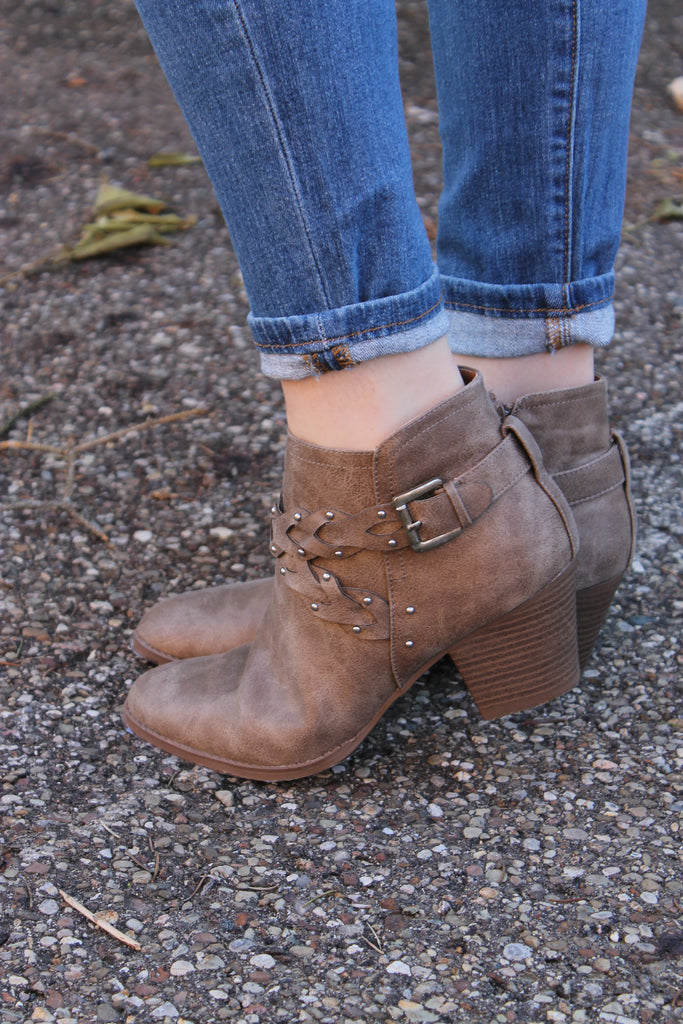 Taupe Braided Bootie