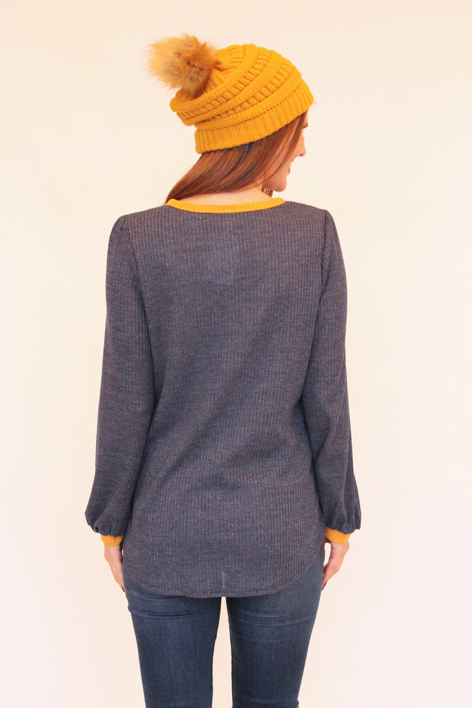 Navy Waffle Button Top