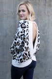 Ivory Animal Open Back Sweater