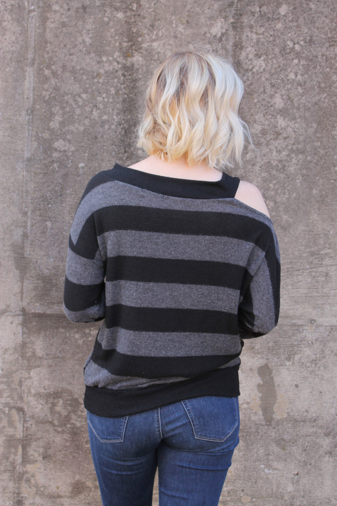 Charcoal/Black Stripe One Sleeve Top