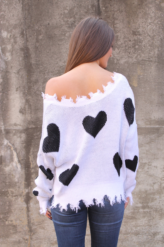White Heart Distressed Sweater