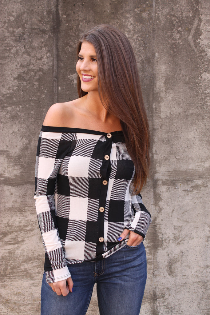 Black/White Plaid Off Shoulder Top