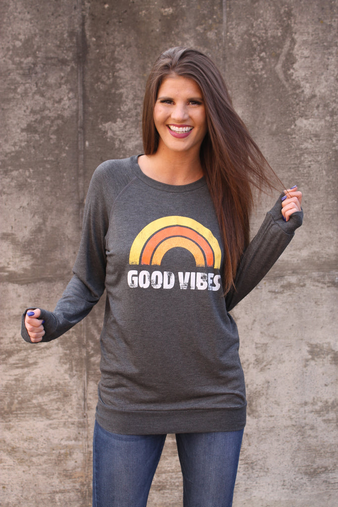 Charcoal Good Vibes Top