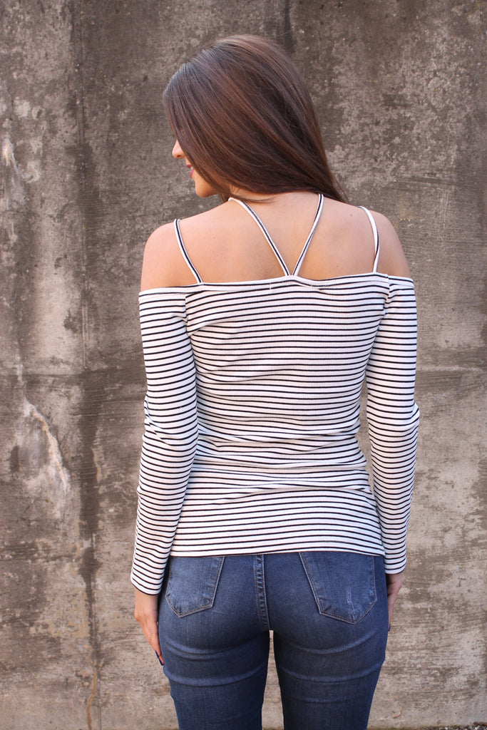 White Strappy Stripe Top