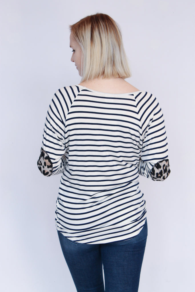 Ivory Stripe Leopard Elbow Patch Top