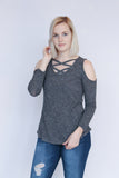 Charcoal Cold Shoulder Criss Cross Top
