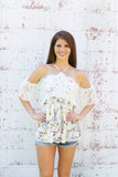 Ivory Print Lace Cold Shoulder Top