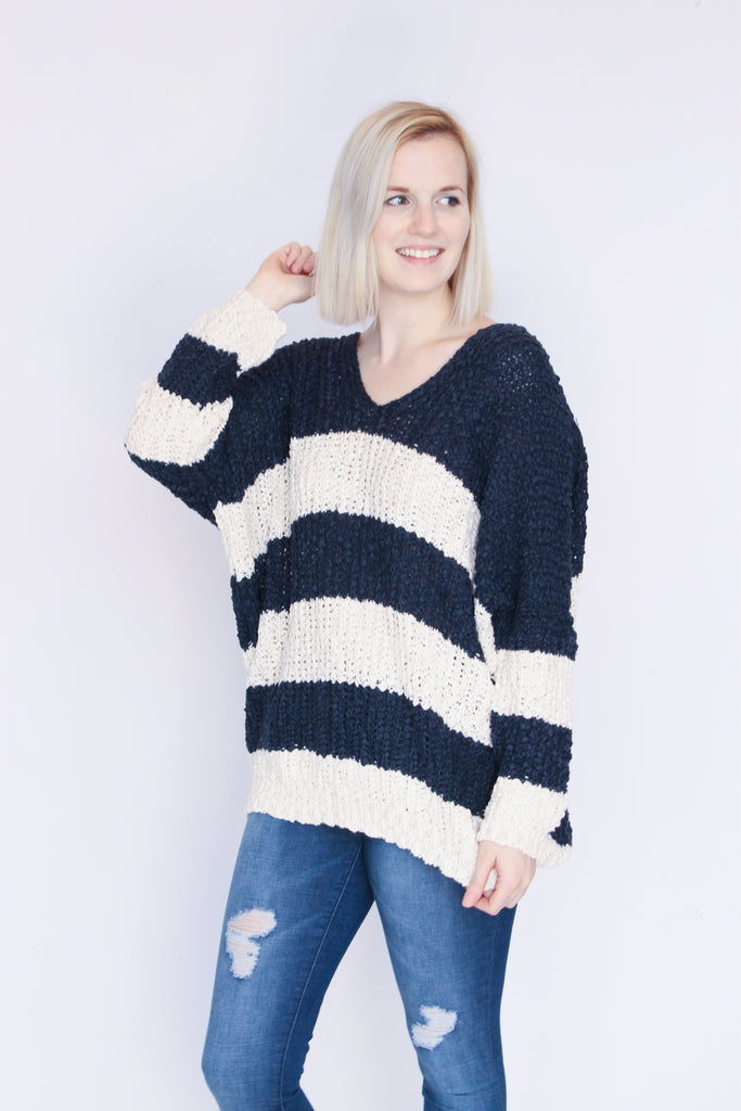 Navy/Cream Stripe Sweater