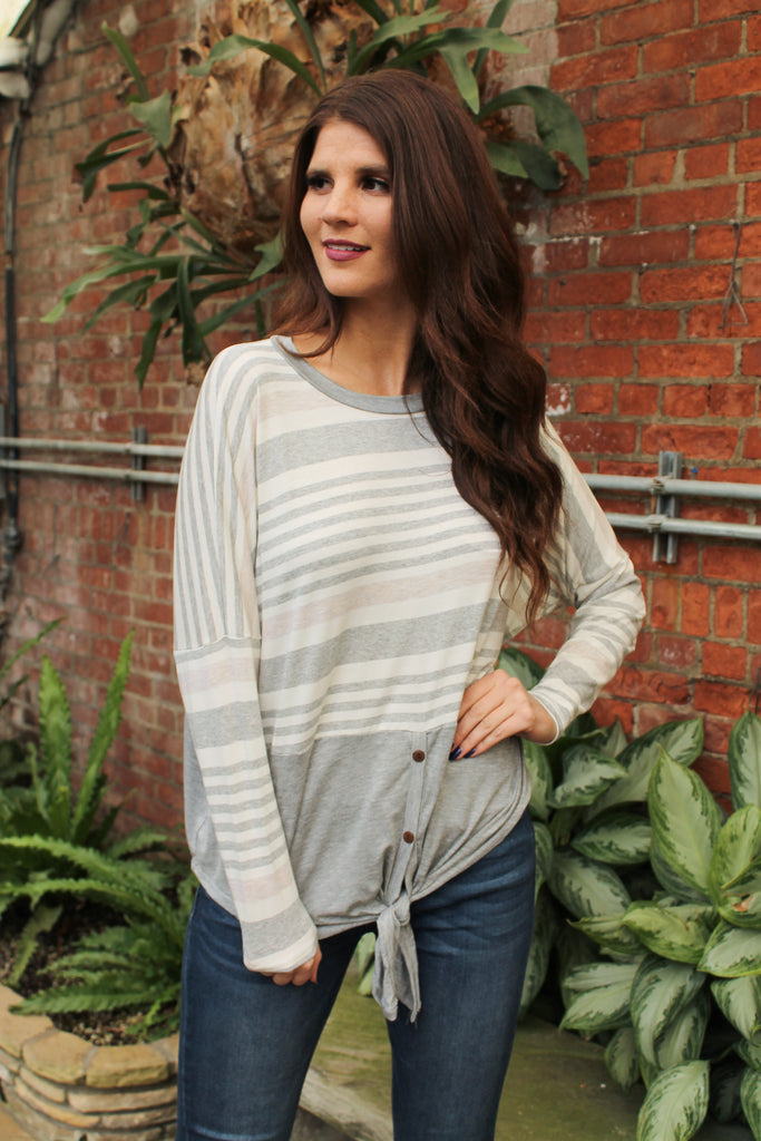 Grey Stripe Front Tie Top