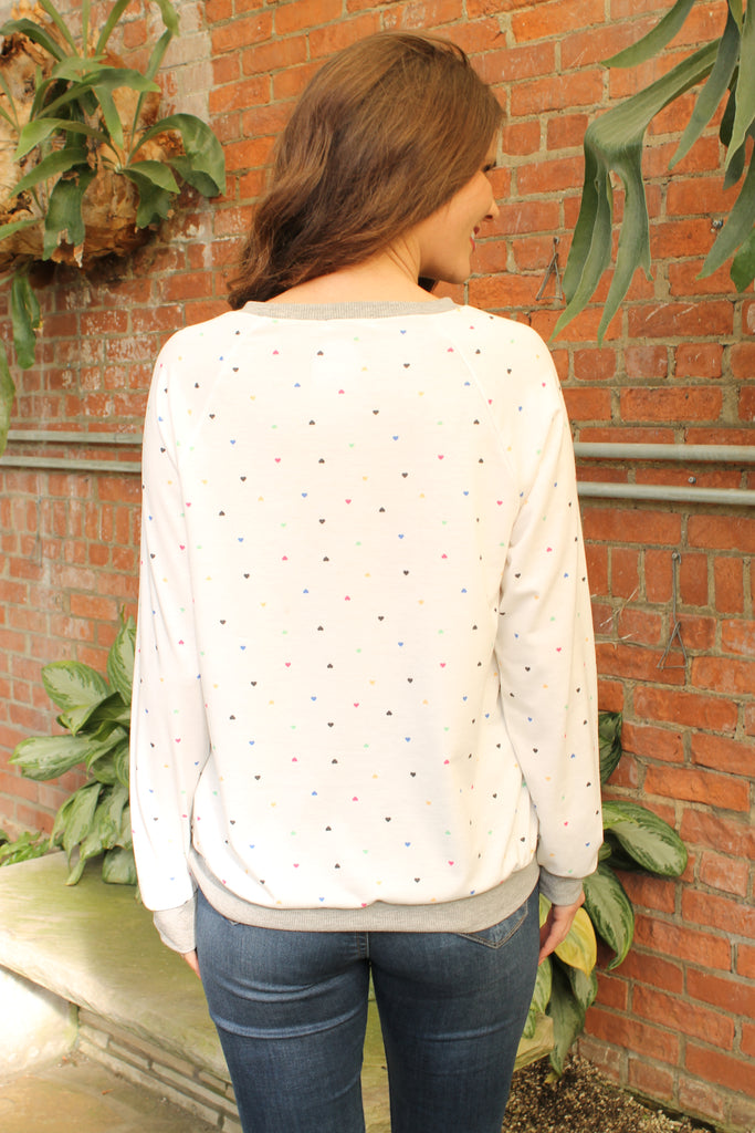 White Multi Heart Top
