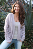 Purple Cable Knit Cardigan