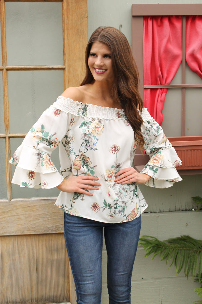 White Floral Off Shoulder Bell Sleeve Top