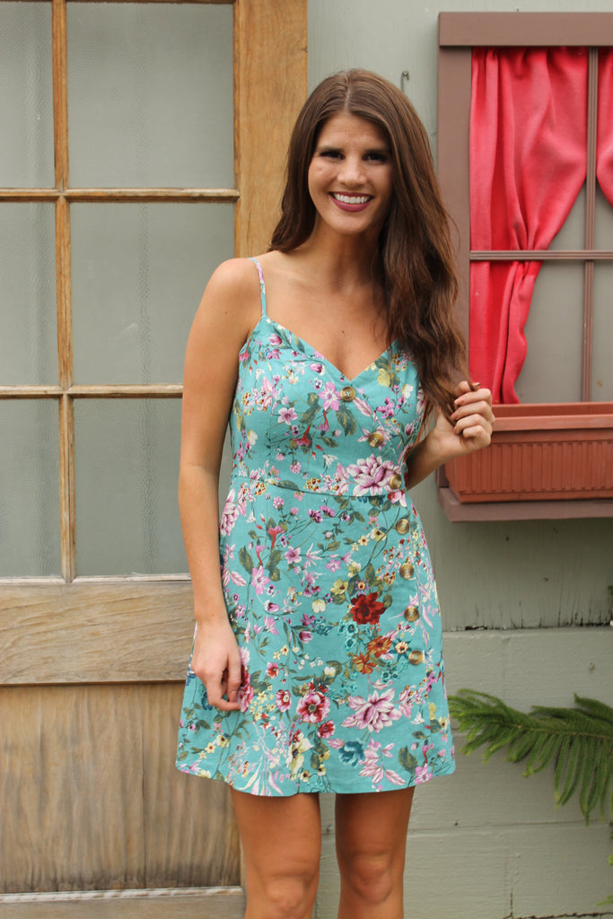 Teal Floral Dress W/ Buttons