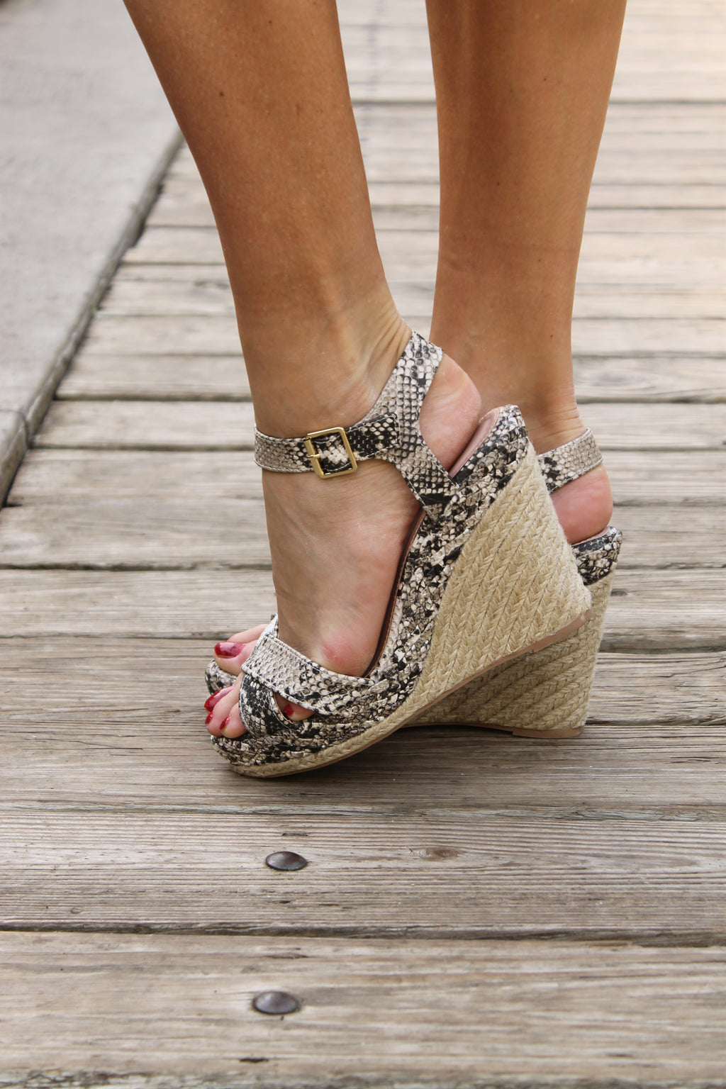 Brown Snake Skin Wedge