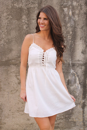 White Tie Front Cami Dress