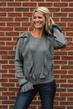 Charcoal Ruffle Front/Sleeve Sweater