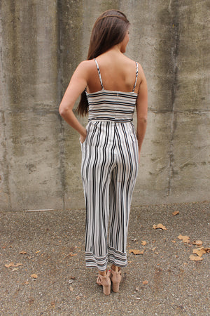 White/Black Stripe Tie Jumpsuit