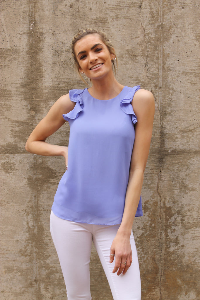 Lavender Ruffle Sleevless Top