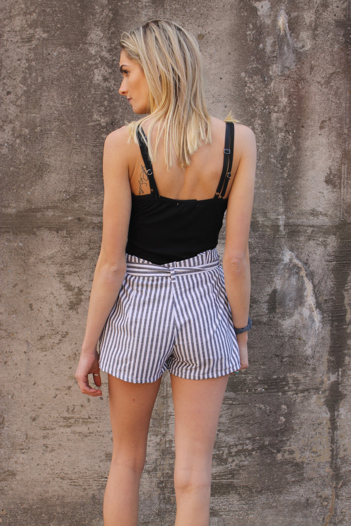 Black Stripe Tie Short