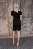 Black Short Sleeve Fitted Wrap Dress