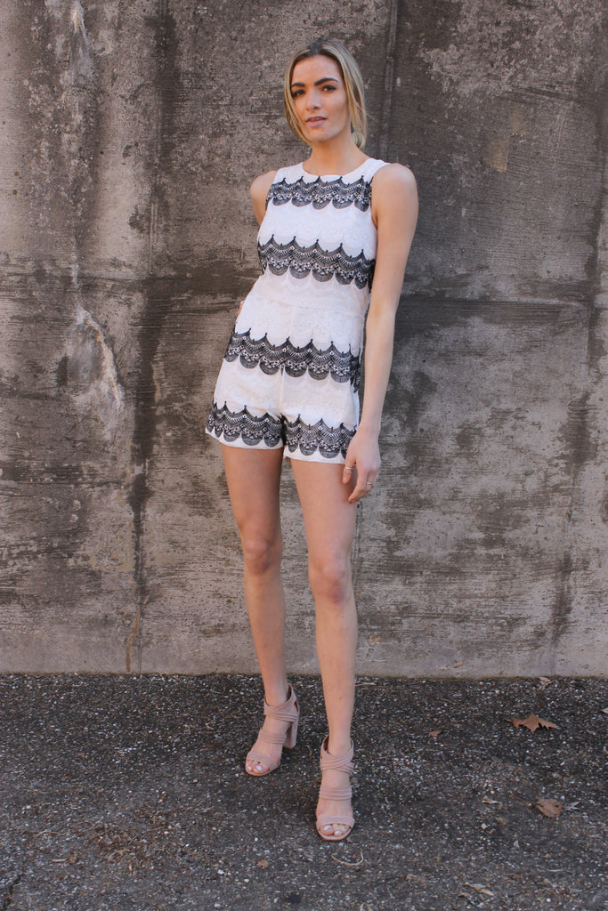 White/Black Lace Romper
