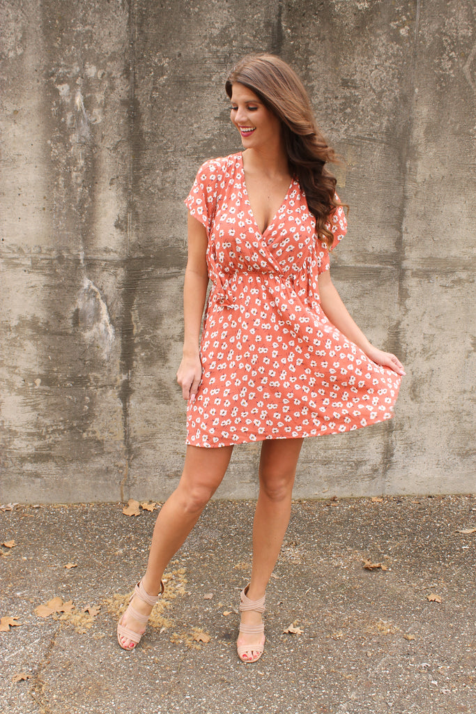 Coral Floral Crossover Ruffle Sleeve Dress