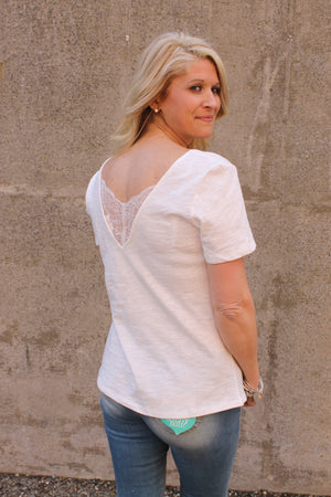 White Lace Trim V Tee