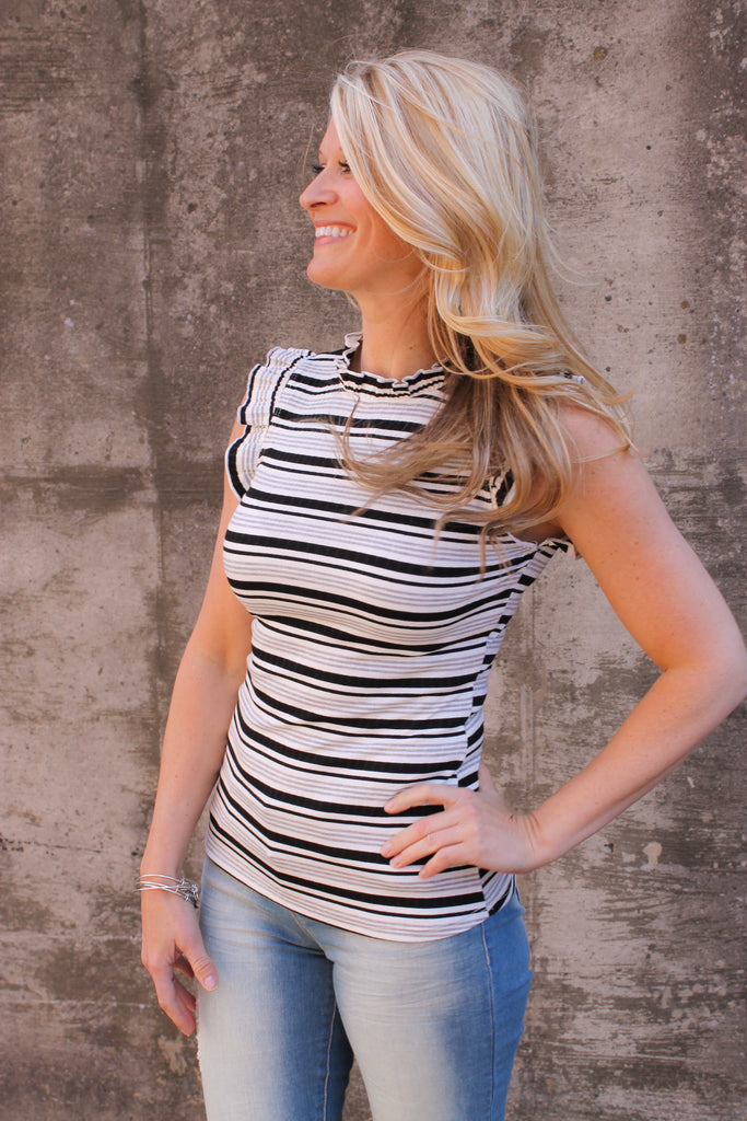 Black Stripe High Neck Sleeveless Top