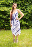 Navy/White Tie Dye Asymetrical Dress