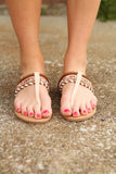 Brown T Strap Bead Sandal