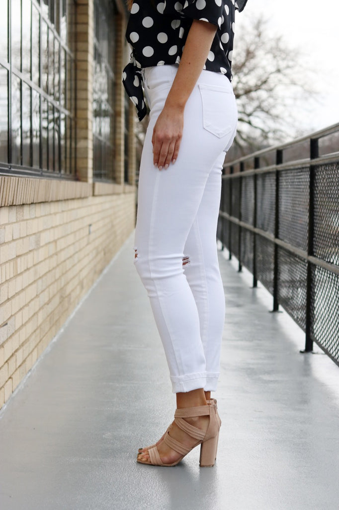 White Ankle Distressed Denim