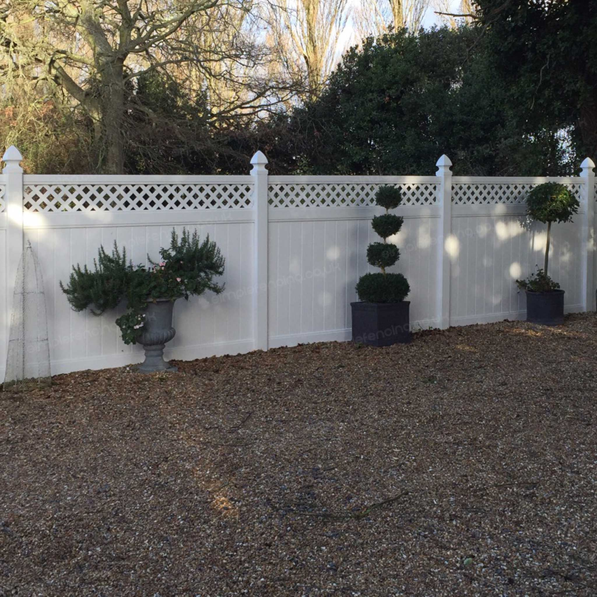 Cascade 8 ft  W x 6 ft  H White Vinyl Privacy Fence Panel with Lattice