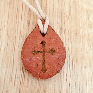 Drop Shaped clay with Announcement Church Nazareth  Cross