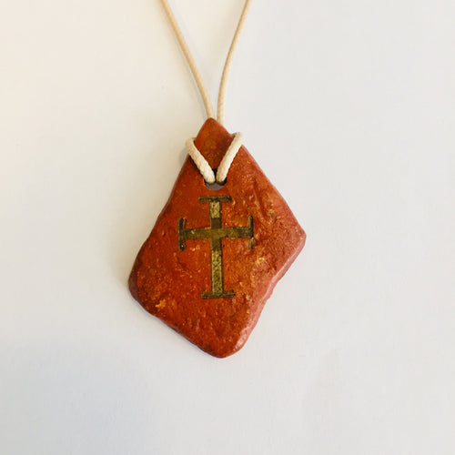 Natural Clay with Deep Faith Cross
