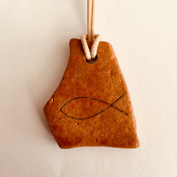ICHTHUS FISH CLAY NECKLACE