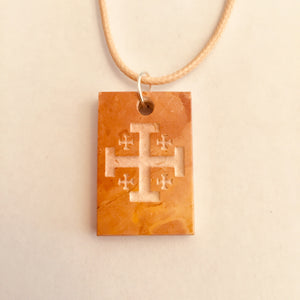 Men's and women Jerusalem stone Jerusalem cross necklace