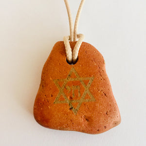 STAR OF DAVID CHAI CLAY NECKLACE