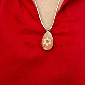 Men's and women Jerusalem stone Star of David necklace