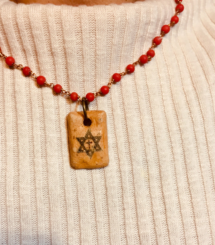 STAR OF DAVID CROSS CLAY NECKLACE