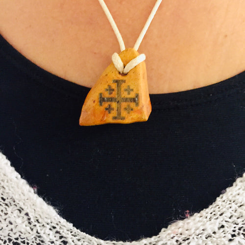 Natural Clay with new Ein Karem in Jerusalem cross