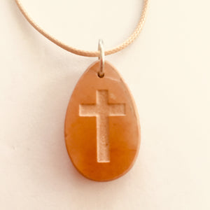 Drop Shaped Jerusalem Stone Cross